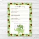 Green Polka Dot Elephant Printable Baby Shower Wishes For Baby Advice Cards #A107