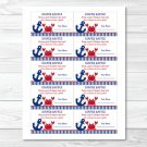 Nautical Crab Under The Sea Printable Baby Shower Diaper Raffle Tickets #A182