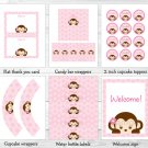 Girl Pop Monkey Pink Printable Baby Shower Party Package #A167