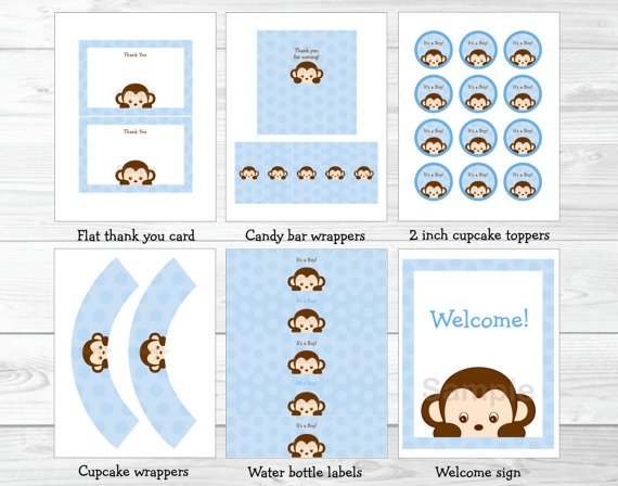 Boy Pop Monkey Blue Printable Baby Shower Party Package #A175