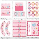 Pink Under The Sea Printable Baby Shower Party Package #A262