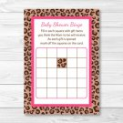 Pink Cheetah Print Printable Baby Shower Bingo Cards #A251