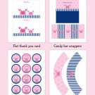 Pink Crab Nautical Printable Baby Shower Party Package #A121