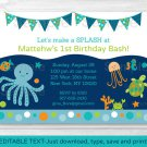 Under The Sea Octopus Crab Turtle Nautical Birthday Invitation Editable PDF #A317