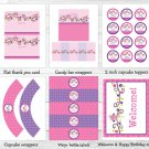 Pink Owl Blossom Printable Birthday Party Package #A319