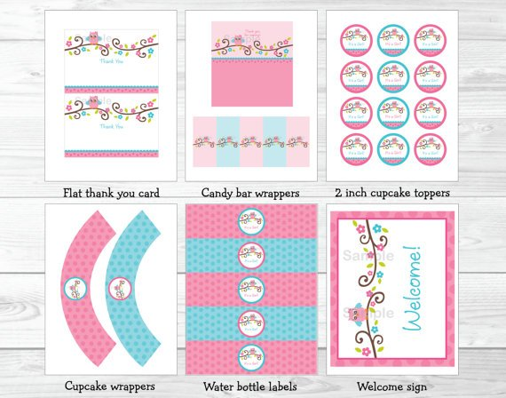 Pink Owl Blossom Printable Baby Shower Party Package #A162