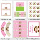 Mod Girl Monkey Printable Birthday Party Package #A288