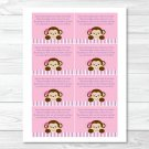 Lil Monkey Girl Jungle Safari Pink Printable Baby Shower Book Request Cards #A153