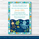 Under The Sea Octopus Crab Turtle Nautical Baby Shower Invitation Editable PDF #A128