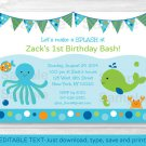 Under The Sea Octopus Crab Whale Nautical Birthday Invitation Editable PDF #A316