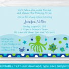 Under The Sea Nautical Calypso Printable Baby Shower Invitation Editable PDF #A202