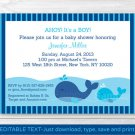 Lil Whale Ahoy! Its A Boy! Baby Shower Invitation Editable PDF #A295