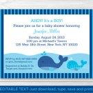 Lil Whale Ahoy! Its A Boy! Baby Shower Invitation Editable PDF #A295