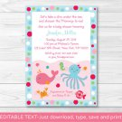 Pink Under The Sea Nautical Printable Baby Shower Invitation Editable PDF #A321