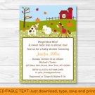 Fall Farm Animal Pumpkin Printable Baby Shower Invitation Editable PDF #A322