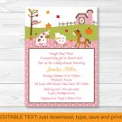 Fall Pink Farm Animal Pumpkin Printable Baby Shower Invitation Editable PDF #A324