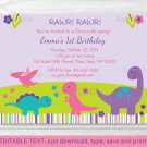Girl Dinosaur Printable Birthday Invitation Editable PDF #A325