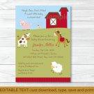 Farm Animals Printable Baby Shower Invitation Editable PDF #A313
