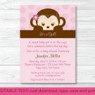 Girl Monkey Printable Baby Shower Invitation Editable PDF #A167