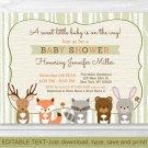 Woodland Animals Fox Deer Bear Neutral Baby Shower Invitation Editable PDF #A191