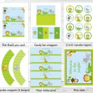 Blue Safari Jungle Animals Printable Birthday Party Package #A328