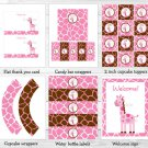 Pink Giraffe Printable Birthday Party Package #A329