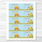 Construction Trucks Printable Baby Shower Diaper Raffle Tickets #A117