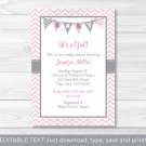 Modern Pink Chevron Printable Baby Shower Invitation Editable PDF #A127