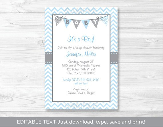 Modern Baby Blue Chevron Printable Baby Shower Invitation Editable PDF #A260