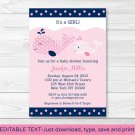 Mod Pink Whale Printable Baby Shower Invitation Editable PDF #A330