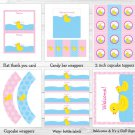 Pink Rubber Duck Printable Baby Shower Party Package #A320