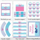 Pink Whale Nautical Printable Birthday Party Package #A332