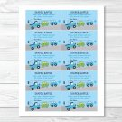 Around The Town Cars And Trucks Printable Baby Shower Diaper Raffle Tickets #A265