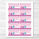 Girl Monsters Pink Printable Baby Shower Diaper Raffle Tickets #A183