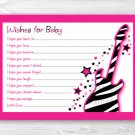 Girl Rock Star Pink Printable Baby Shower Wishes For Baby Advice Cards #A333