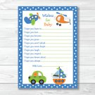 Car Truck Boat Airplane Printable Baby Shower Wishes For Baby Advice Cards #A111