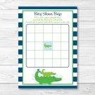 Preppy Alligator Printable Baby Shower Bingo Cards #A157