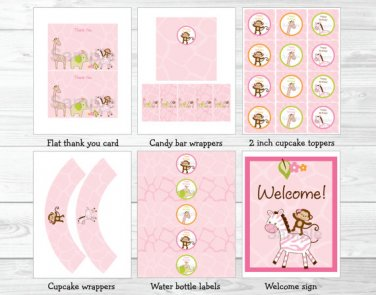 Pink Safari Girl Jungle Animal Printable Birthday Party Package #A309