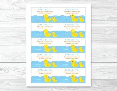 Rubber Duck Printable Baby Shower Diaper Raffle Tickets #A176
