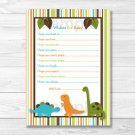 Dinosaur Friends Printable Baby Shower Wishes For Baby Advice Cards #A132