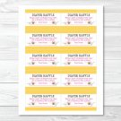 Pink Bumble Bee Printable Baby Shower Diaper Raffle Tickets #A101