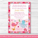 Pink Under The Sea Printable Baby Shower Invitation Editable PDF #A262