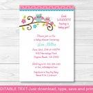 Girl Owl Printable Baby Shower Invitation Editable PDF #A162