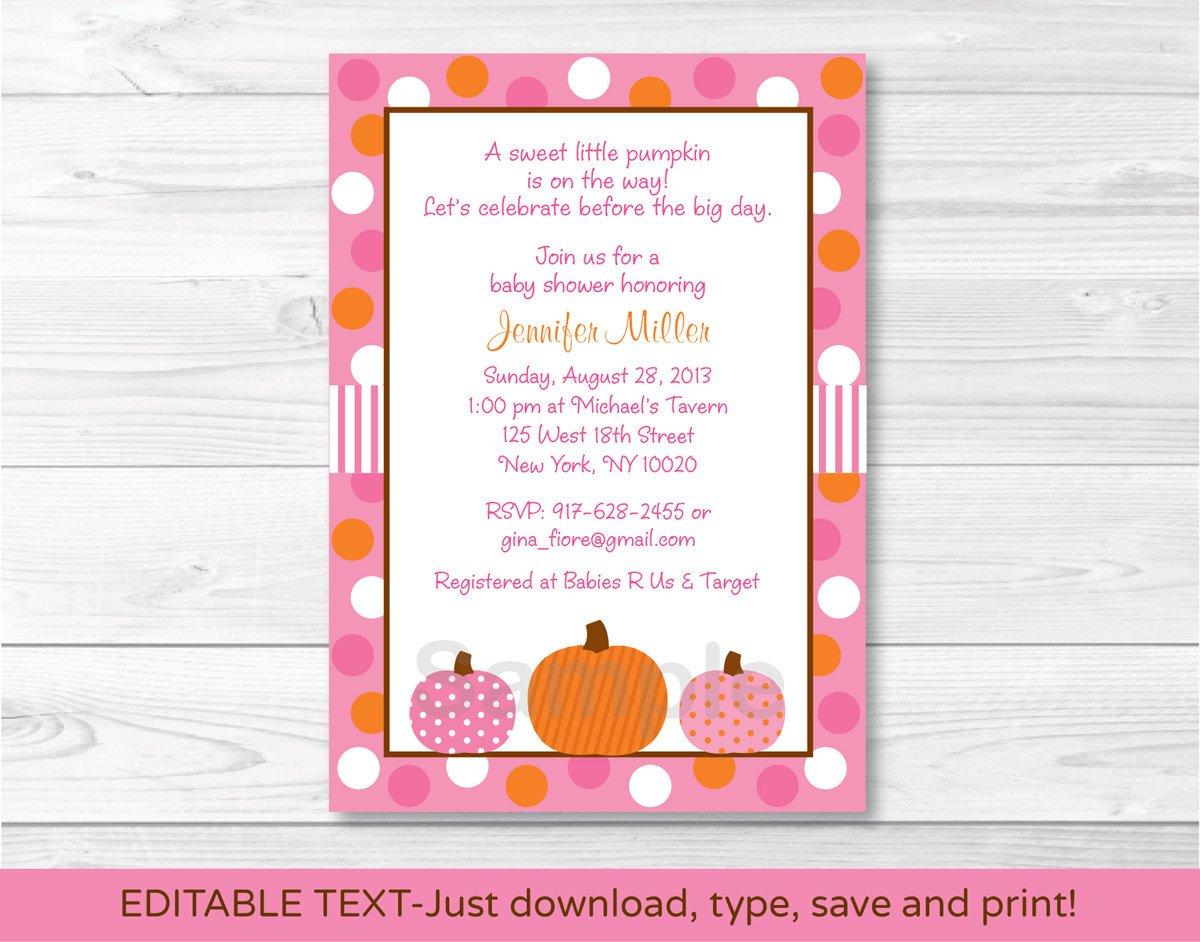 Pink Pumpkin Fall Harvest Printable Baby Shower Invitation Editable PDF #A337