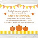Pumpkin Fall Harvest Printable Birthday Invitation Editable PDF #A339