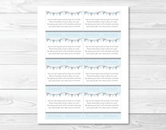 Modern Baby Blue Chevron Printable Baby Shower Book Request Cards #A260
