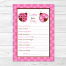 Pink Ladybug Printable Baby Shower Wishes For Baby Advice Cards #A122