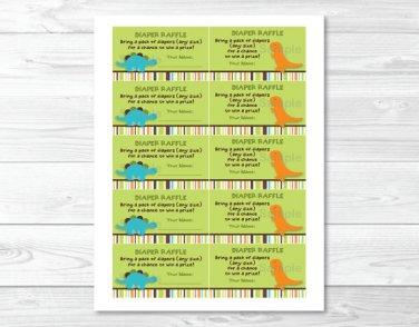 Dinosaur Friends Printable Baby Shower Diaper Raffle Tickets #A132