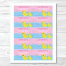 Pink Rubber Duck Printable Baby Shower Diaper Raffle Tickets #A320