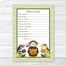 Jungle Animals Safari Friends Printable Baby Shower Wishes For Baby Advice Cards #A169